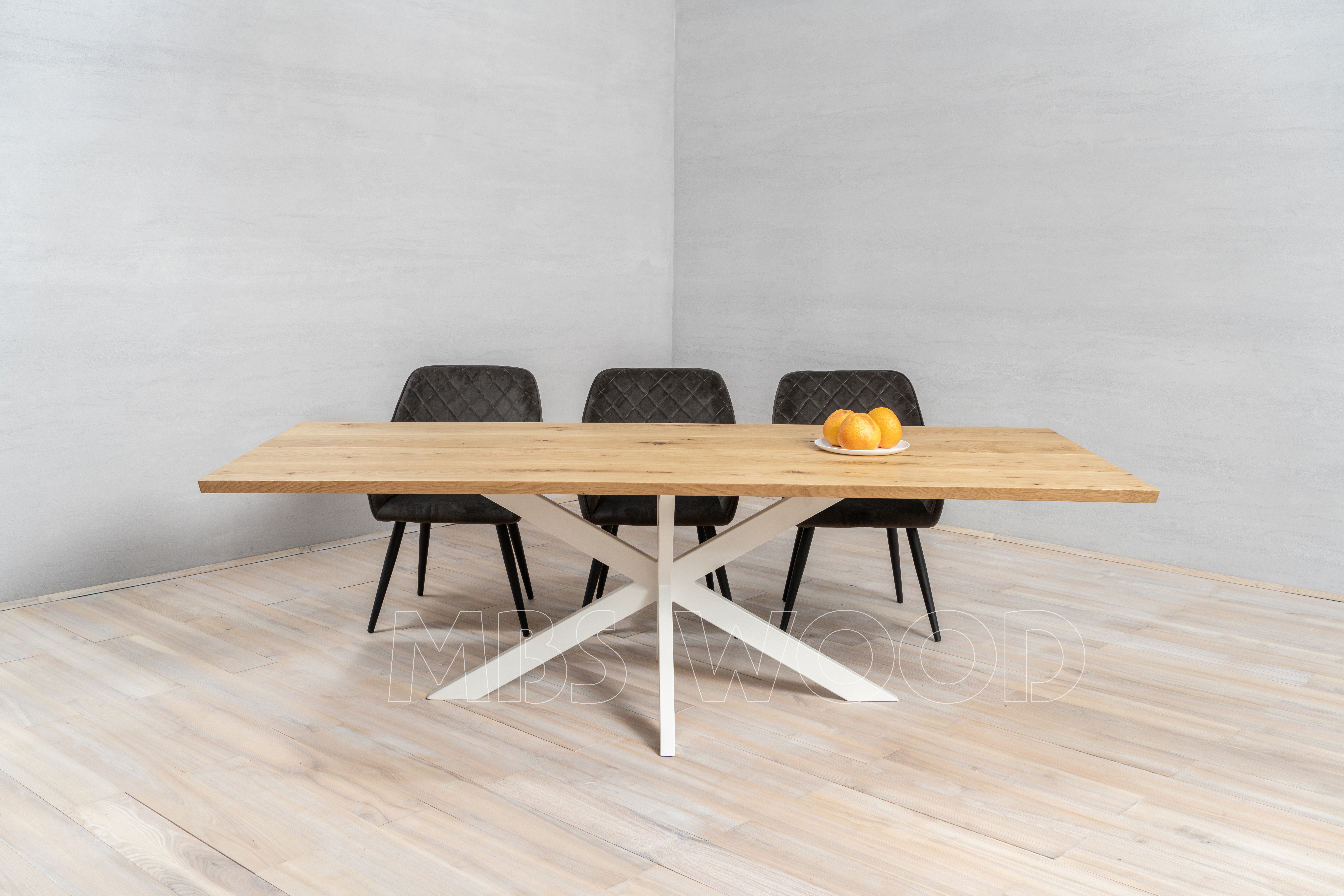 oak tables with metal legs spider^ color white